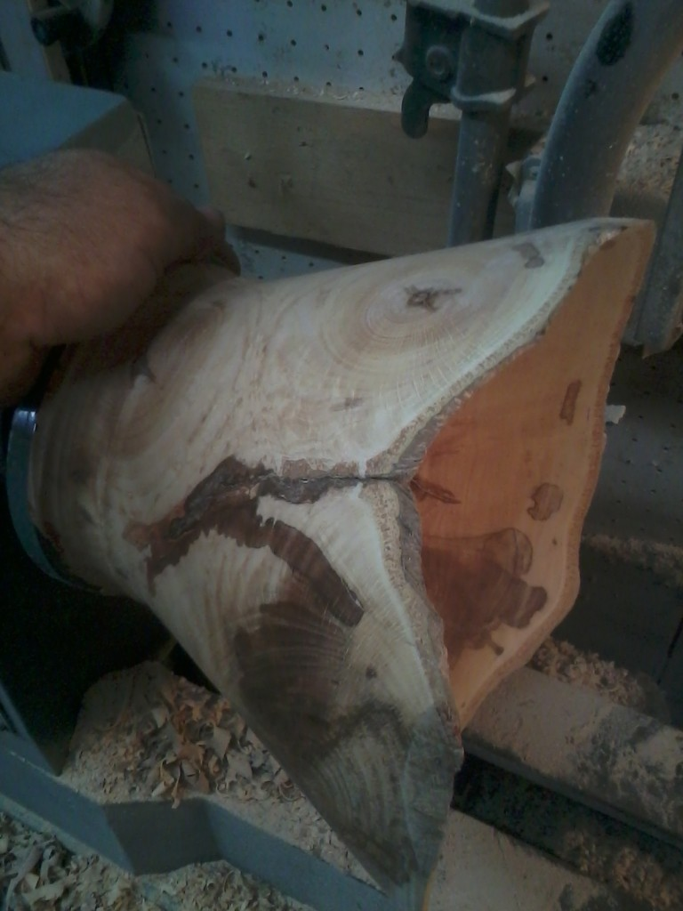 Spalted Copper Beech in progress, hollowing a flexible thin walled vessel.